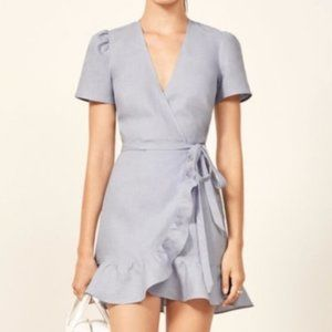 Reformation Blue Sally Wrap Dress XS